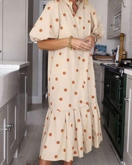 Sweet Style Loose Lantern Sleeve Maxi Dress