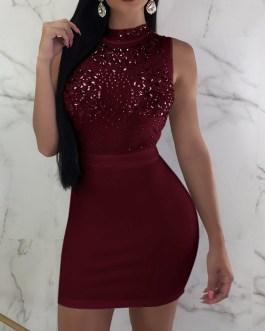 Very Sexy O-Neck Pencil Skinny Sequins Bodycon Dress