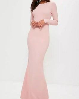 Maxi Dress Backless Party Dress Long Sleeve Sheath Semi Formal Dress