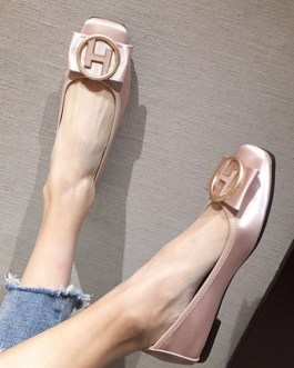 Ballerina PU Leather Square Toe Slip-On Buttons Daily Casual Flat Shoes