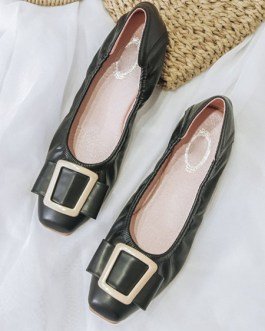 Ballerina PU Leather Square Toe Slip-On Pump Buttons Flat Shoes