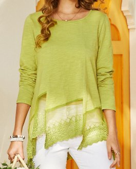 Bohemian Solid Color Lace Patch O-neck Long Sleeve T-Shirt
