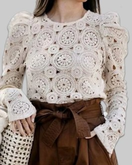 Chic Lace Hollow Out Long Sleeve O-neck Causal Blouse