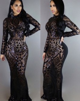 Club Maxi Dress Sequins High Collar Long Sleeve Formal Dresses