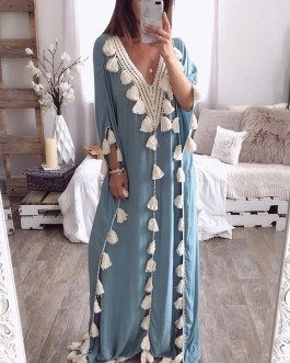 Elegant Tassel Patchwork V-neck Kaftan Casual Robe Long Maxi Dress