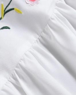 Flower Embroidery Flounce Sleeves Bohemian Mini Shirt Dress