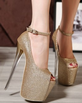 Glitter Pointed Toe Leather Sexy Sky High Heels