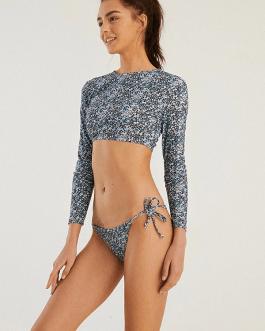 High Neck Vintage Print Thong String Swimwear Long Sleeves Surfing Bikini