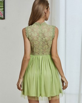 Jewel Neck Sleeveless Casual Fit And Flare Skater Dresses