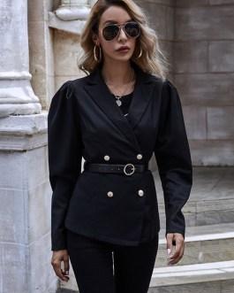 Modern Polyester V-Neck Long Sleeves Casual Blazer