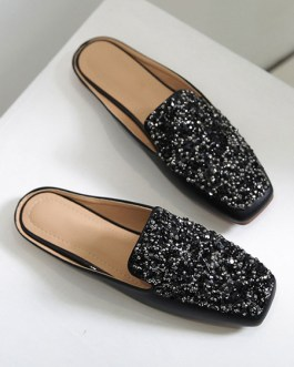 Mules PU Leather Square Toe Slip-On Puppy Heel Casual Flat Shoes