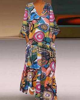Retro V-neck Floral Print Loose Vintage Long Maxi Dress