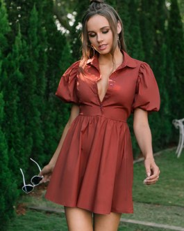 Turndown Collar Puff Short Sleeve Pleated Fit And Flare Shirt Dress