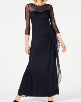 Bridal Mother Dress Jewel Neck 3/4 Length Sleeves A-Line Beaded Chiffon Long Guest Dresses
