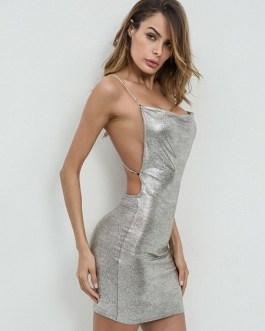Club Dress Glitter Spaghetti Strap Sleeveless Backless Silver Club Wear