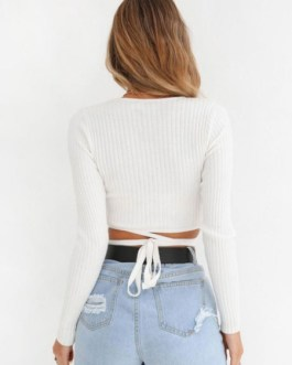 Crop Top Long Sleeve V Neck Strappy T Shirt