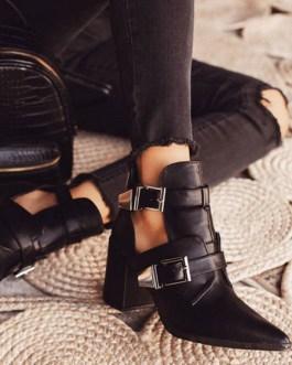 Pointed Toe Metal Details Block Heel Short Boots