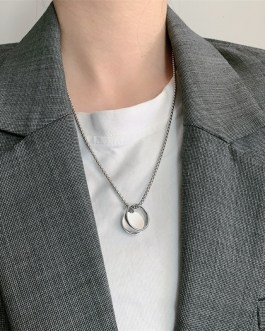 Ring Round Pendant Trend Chain Long Necklace