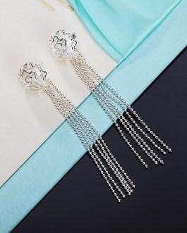 Rose Flowers Bead Long Chain Tassel Drop Earrings