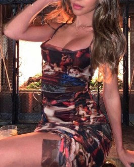 Sexy Spaghetti Strap Ruched Drawsting Backless Mini Dress