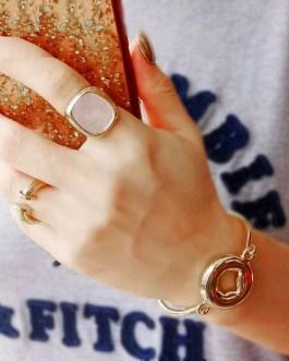 Simple Geometric Square Shell Ring Fashion Jewelry