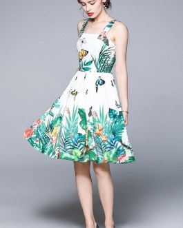 Backless Party Dress Beach Sleeveless Tank Buttons Floral Printed Midi Vestidos