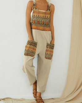 Contrast Ethnic Pattern Print Button Strap Jumpsuit With Pocket