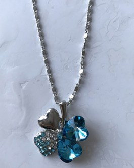 Crystal Leaf Lucky Rhinestone Pendant Necklace Four Leaf Clover
