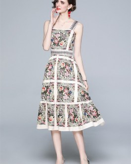 Designer  Vacation Beach Dress Slash Neck Backless Floral Print Midi Dress