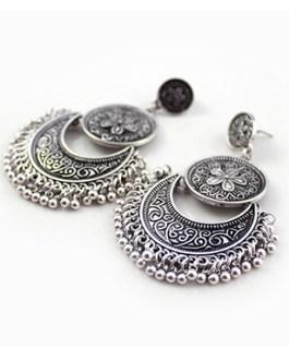 Double Medallions Half Moon with Beaded Edge Bohemian Style Pierced Earrings
