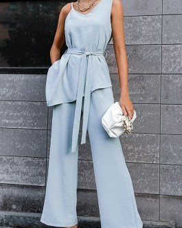 Fashion Irregular Solid Tie-Wrap Top With Wide-Leg Pants