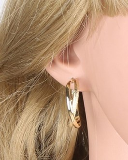 Fashion Matte 2 Layered Hoop Earring 14k Gold Plated