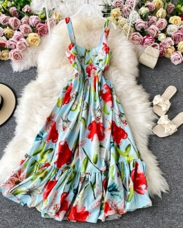 Fashion Runway Floral Print Vacation Dress Sleeveless Tank Boho Beach Elegant Party Pleated vestido longo