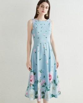 Floral Beach Dress Flower Printed Party High Waist Tank Long Maxi Vestidos