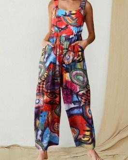 Graffiti Printed Wide-Legged Side Pockets Sleeveless Jumpsuits