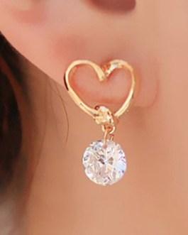 Heart Shaped Ear Pins Zircon Eardrop Earrings