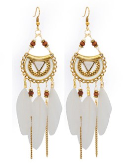 Indian Style Dangling Leaf and Metal Earrings with Beads