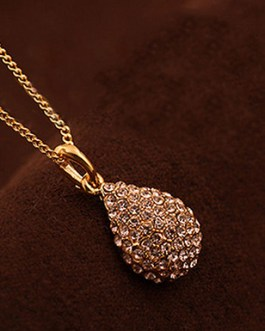 Long Chain Necklace Crystal Pendant