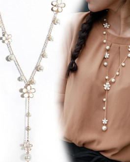 Long Chain Pendant Necklace Pearl Flower