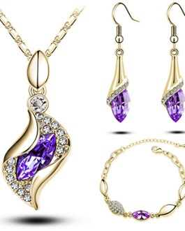 Necklace Bangle Earring 18k Gold Plated Jewelry Set