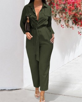 Pockets Knotted Casual Jumpsuit