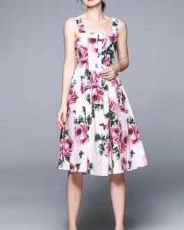 Sexy Off-Shoulder Spaghetti Strap Holiday Beach Dress Sweet Floral Printing Fit Flare Midi Vestidos 2021