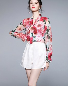 Shorts Suit Floral Long Sleeve Bow Lace Up Chiffon Beach Blouses Shirt + Shorts Outfits 2 Piece Set