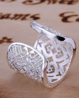 Sterling Cuff Ring with Cubic Zirconias