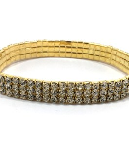 Three Row Anklet with Clear Rhinestones