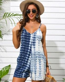 Tie-dye Print Sleeveless V-neck Casual Jumpsuit