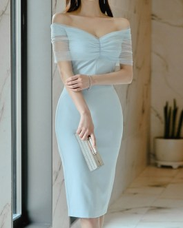 Bateau Neck Polyester Sexy Knee Length Pencil Bodycon Dresses
