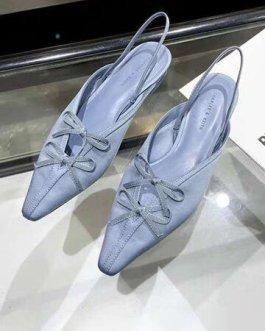 Bowknot Microfiber Low Block Heeled Slingback Sandals