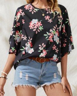 Casual Bohemian 0-Neck Flower Print Slit T-shirt