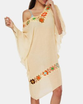 Casual Embroidery Crochet Beaches Holiday Dress